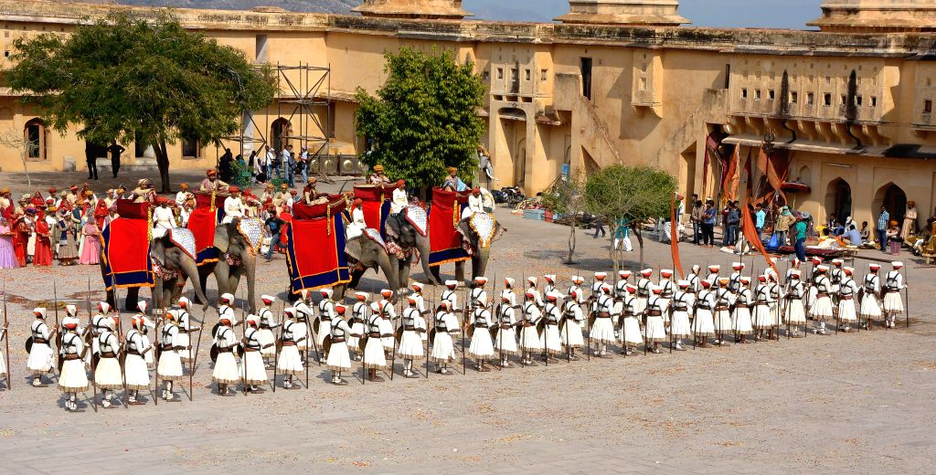 Shooting of `Bajirao Mastani`underway at Amer Fort near Jaipur, on March 16, 2015.