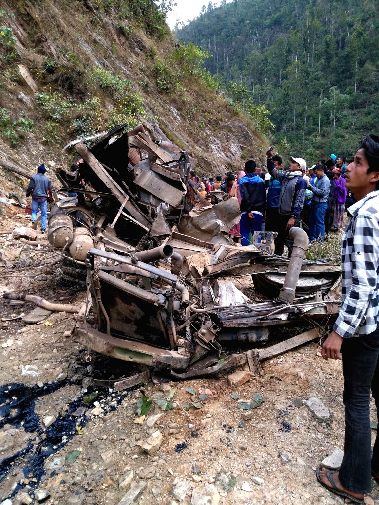 JAJARKOT, March 10, 2017 - People gather at the site of a bus accident at Malika Municipality of Jajarkot district in Mid-Western Nepal, March 9, 2017. At least 20 persons died and over two dozen ... - Malik