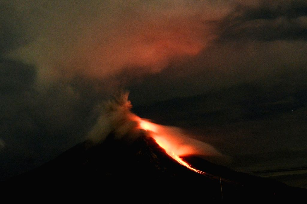 Jakarta, Aug 10 (IANS) Mount Sinabung in Indonesia's North Sumatra province erupted on Monday, spewing a 5,000 metre-high column of ash to the sky.