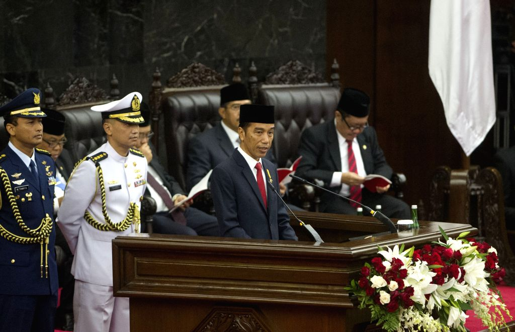 JAKARTA, Aug. 16, 2016 - Indonesian President Joko Widodo (R, front) delivers his annual speech at the parliament building in Jakarta, Indonesia, Aug. 16, 2016. President Joko Widodo on Tuesday said ...