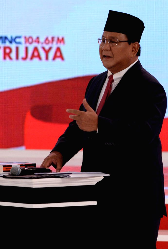 JAKARTA, Feb. 17, 2019 - Indonesian presidential candidate Prabowo Subianto speaks during a debate at Hotel Sultan, Jakarta, Indonesia, Feb. 17, 2019. Indonesia will hold its presidential election in ...