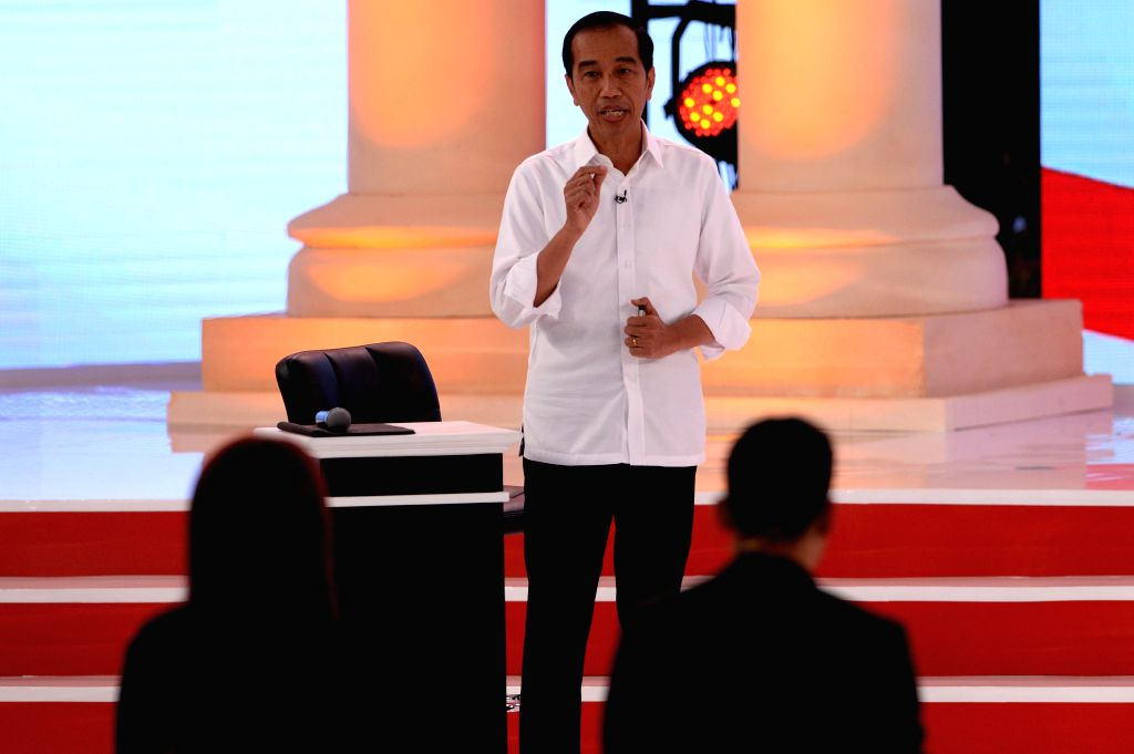 JAKARTA, Feb. 17, 2019 - Indonesian presidential candidate and incumbent President Joko Widodo speaks during a debate at Hotel Sultan, Jakarta, Indonesia, Feb. 17, 2019. Indonesia will hold its ...