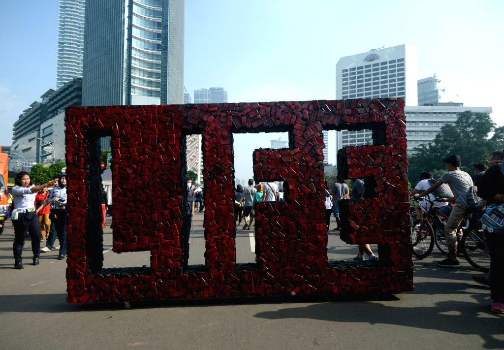 JAKARTA, Feb. 26, 2017 - An electronic waste installation made from used mobile phones is displayed to raise awareness of correctly treating the dangerous garbage in Jakarta, Indonesia, Feb. 26, 2017.