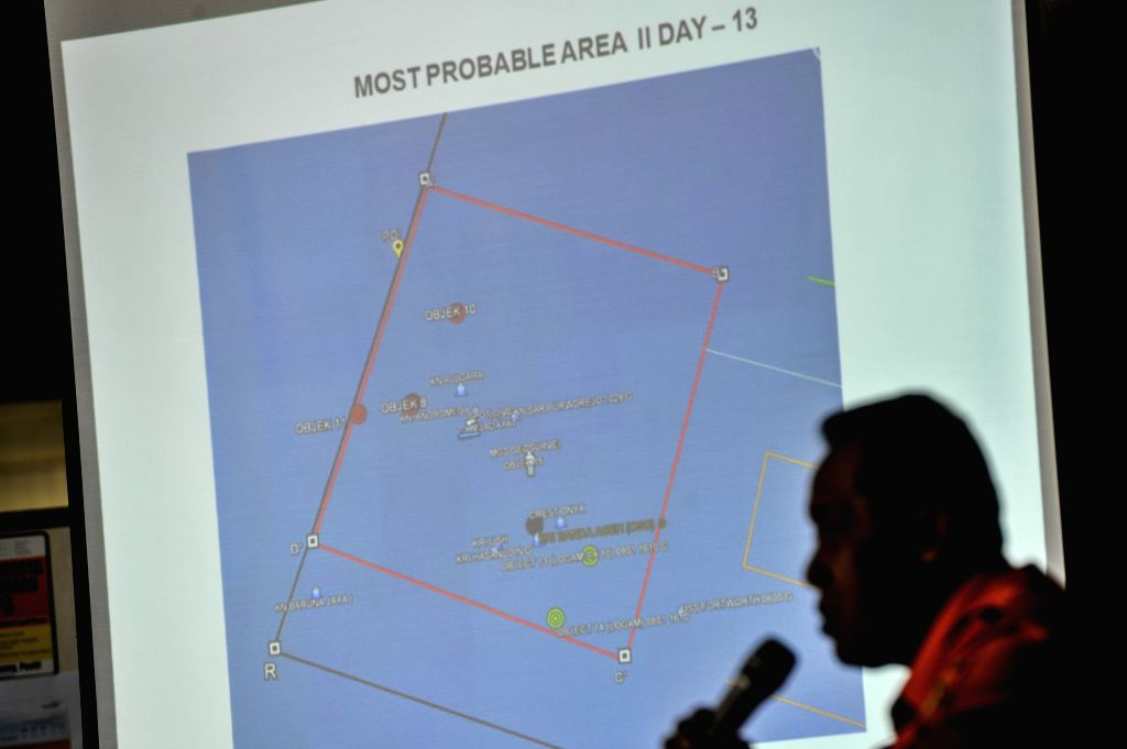 Bambang Soelistyo, head of Indonesia's National Search and Rescue Agency, shows the possible area of the blackbox during the 13th searching and evacuation of the ...
