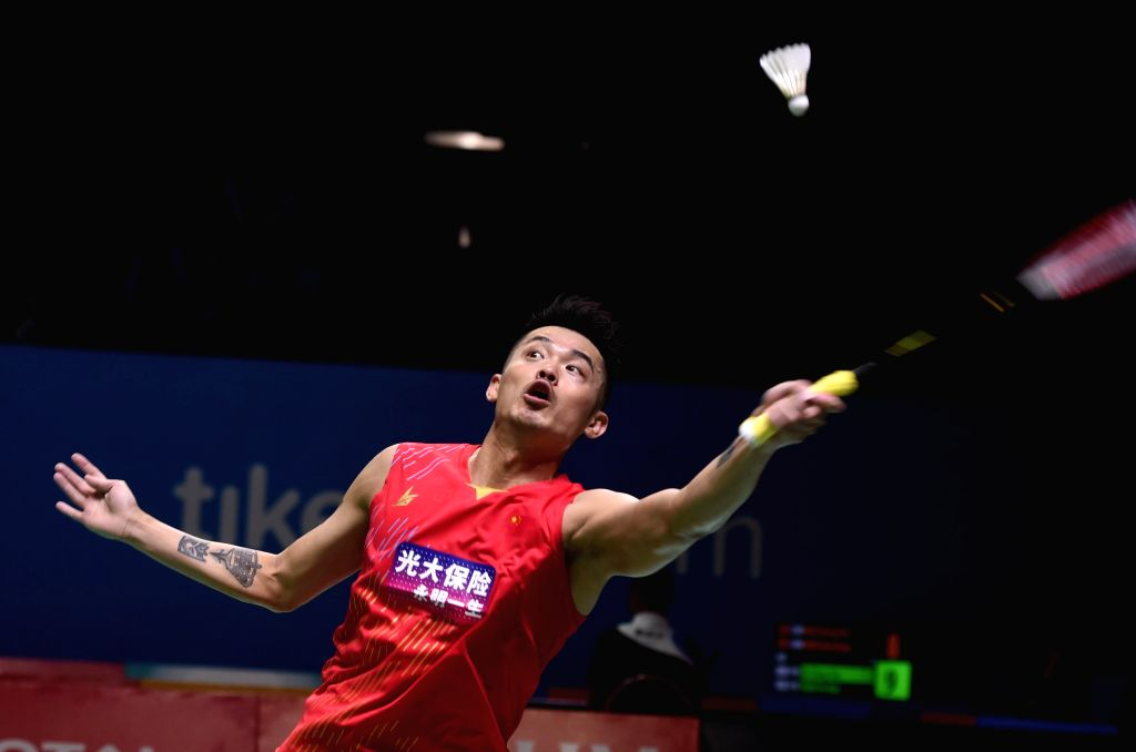 JAKARTA, July 16, 2019 - Lin Dan of China returns the shuttlecock during men's singles first round match between Lin Dan of China and Jason Anthony Ho-shue of Canada at the Indonesia Open 2019 in ...