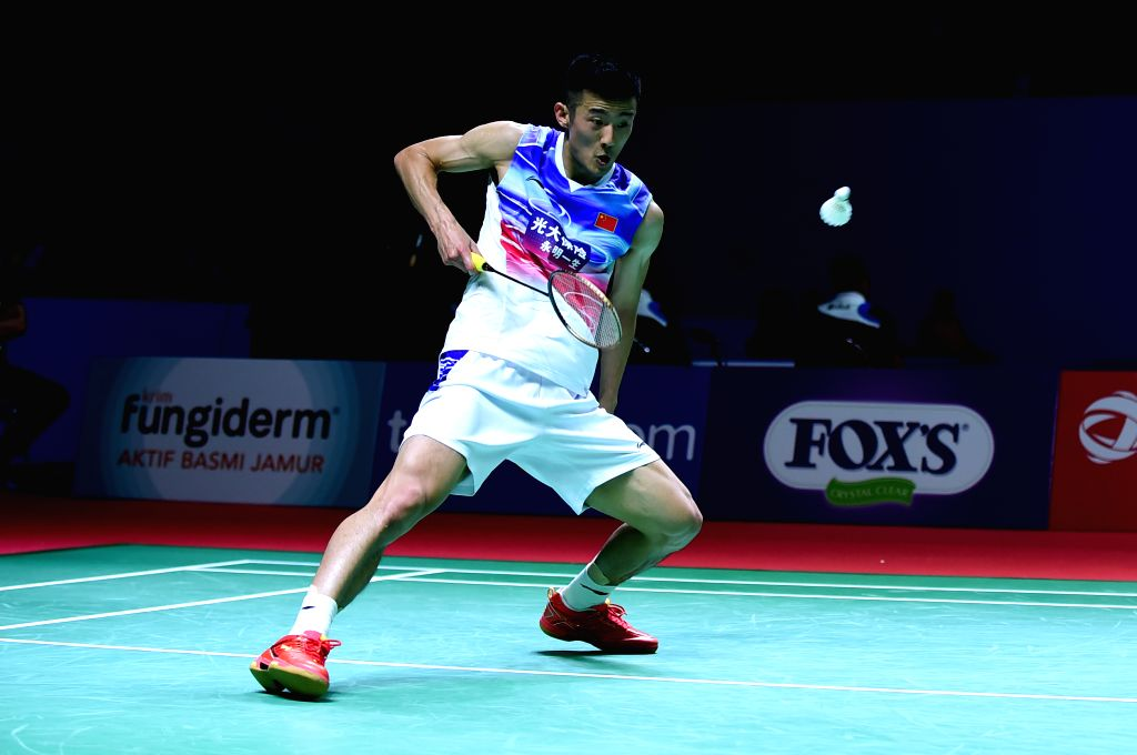 JAKARTA, July 17, 2019 - Chen Long of China returns the shuttlecock during the men's singles first round match against Tommy Sugiarto of Indonesia at the Indonesia Open 2019 in Jakarta, Indonesia on ...