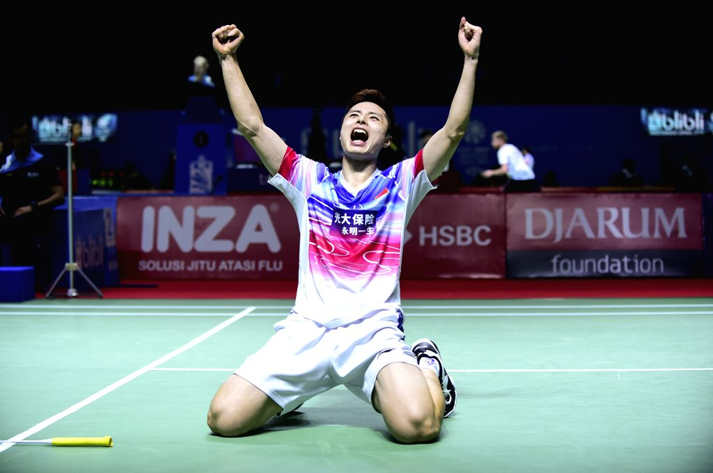 JAKARTA, July 17, 2019 - Shi Yuqi celebrates after the men's singles first round match between Shi Yuqi of China and Prannoy Haseena Sunil of India at the Indonesia Open 2019 badminton tournament in ...