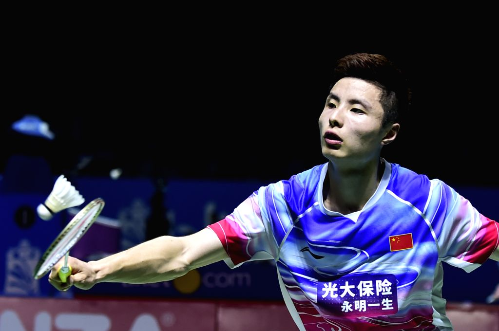 JAKARTA, July 17, 2019 - Shi Yuqi competes during the men's singles first round match between Shi Yuqi of China and Prannoy Haseena Sunil of India at the Indonesia Open 2019 badminton tournament in ...