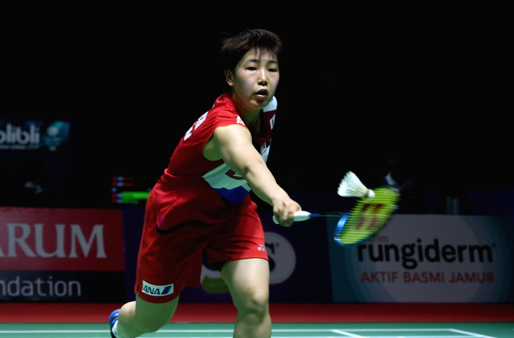 JAKARTA, July 17, 2019 - Yamaguchi Akane of Japan returns the shuttlecock during a women's singles match against Li Xuerui of China at the Indonesia Open 2019 in Jakarta, Indonesia on July 16, 2019.