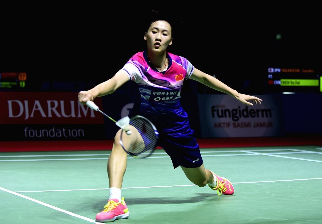 JAKARTA, July 18, 2019 - Chen Yufei competes during the women's singles second round match between Chen Yufei of China and Sayaka Takahashi of Japan at the Indonesia Open 2019 badminton tournament in ...