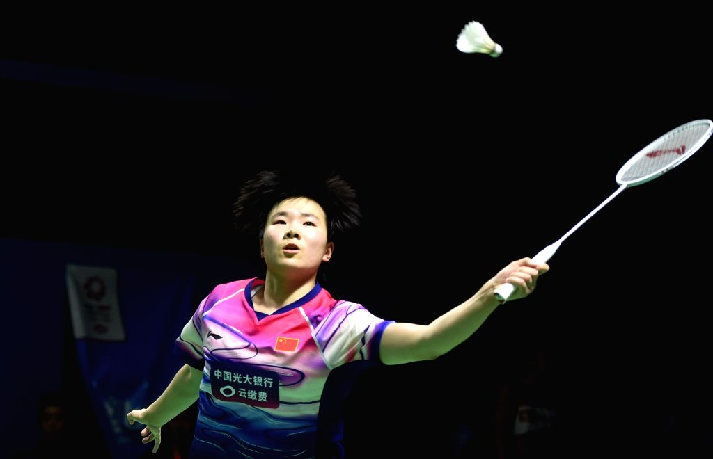 JAKARTA, July 18, 2019 - He Bingjiao of China competes during women's singles second round match between Beiwen Zhang of the United States and He Bingjiao of China at the Indonesia Open 2019 ...