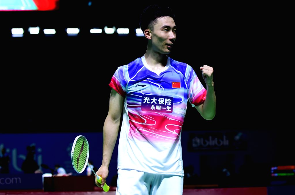 JAKARTA, July 18, 2019 - Huang Yuxiang celebrates victory after men's singles second round match between Huang Yuxiang of China and Momota Kento of Japan at the Indonesia Open 2019 badminton ...