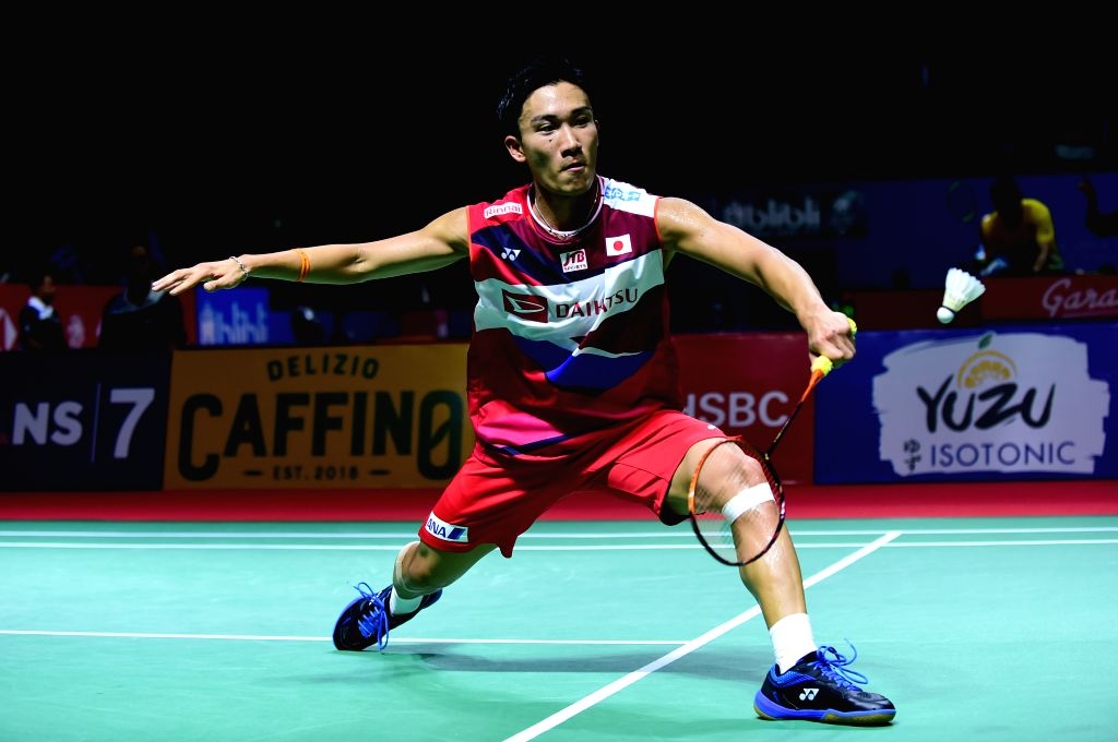 JAKARTA, July 18, 2019 - Momota Kento competes during men's singles second round match between Huang Yuxiang of China and Momota Kento of Japan at the Indonesia Open 2019 badminton tournament in ...