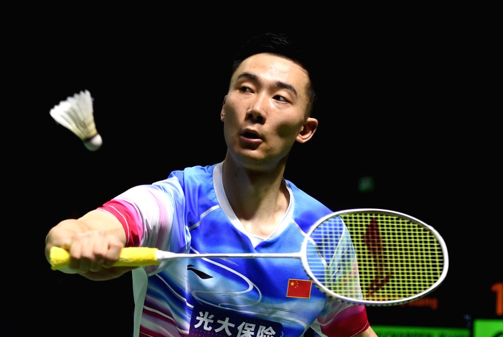 JAKARTA, July 19, 2019 - Huang Yuxiang of China returns a shot during the men's singles quarterfinals match against Kantaphon Wangcharoen of Thailand at the Blibli Indonesia Open 2019 badminton ...