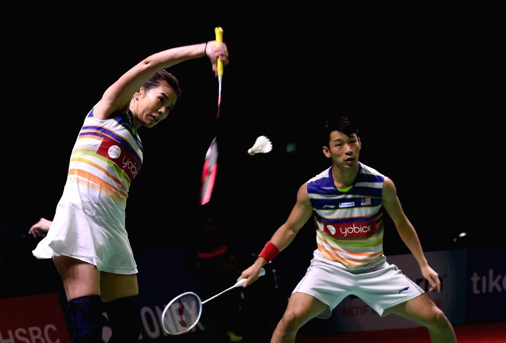 JAKARTA, July 20, 2019 - Chan Peng Soon (R)/Goh Liu Ying compete during a mixed doubles semifinal match between Wang Yilyu/Huang Dongping of China and Chan Peng Soon/Goh Liu Ying of Malaysia at the ...