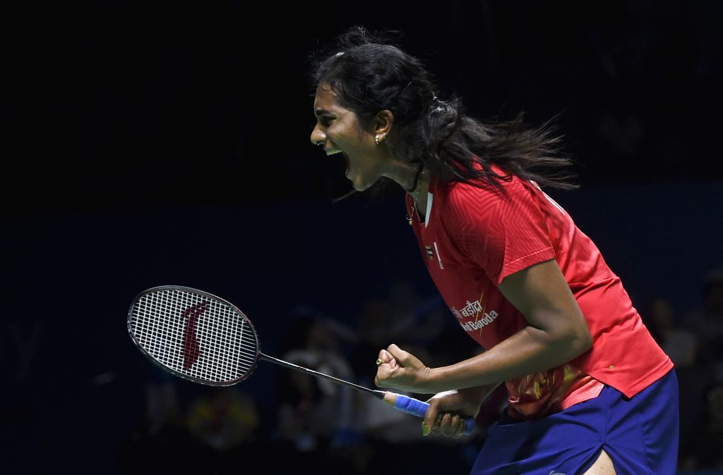 JAKARTA, July 20, 2019 - V. Shindhu Pusarla reacts during the women's singles semifinals match between Chen Yufei of China and Pusarla V. Shindhu of India at Indonesia Open 2019 badminton tournament ...