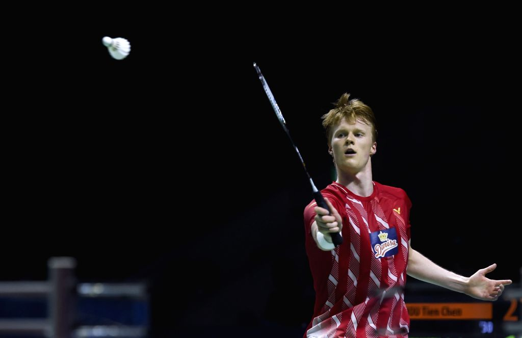 JAKARTA, July 21, 2019 - Anders Antonsen of Denmark competes during the men's singles final match at the Indonesia Open 2019 badminton tournament in Jakarta, Indonesia, July 21, 2019.