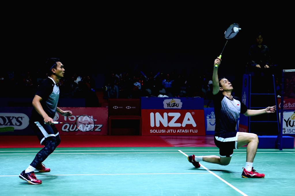 JAKARTA, July 21, 2019 - Mohammad Ahsan (R)/Hendra Setiawan compete during the men's doubles final between Marcus Fernaldi Gideon/Kevin Sanjaya Sukamuljo of Indonesia and their compatriots Mohammad ...