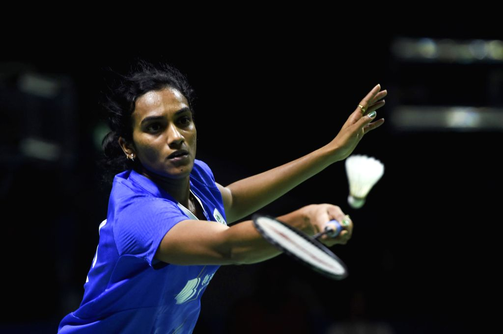 JAKARTA, July 21, 2019 - Pusarla V. Sindhu of India competes during the women's singles final match between Yamaguchi Akane of Japan and Pusarla V. Sindhu of India at Indonesia Open 2019 badminton ...