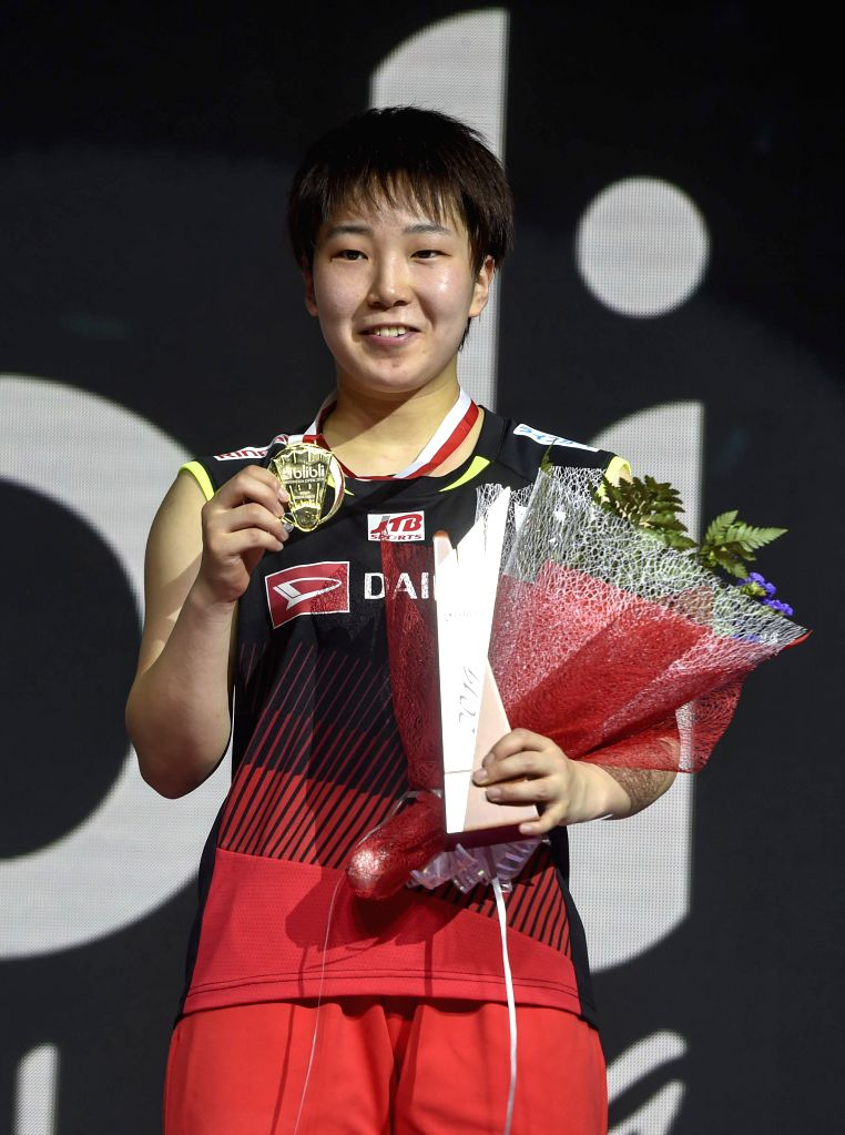 JAKARTA, July 21, 2019 - Yamaguchi Akane poses during the medal ceremony after the women's singles final match between Yamaguchi Akane of Japan and Pusarla V. Sindhu of India at Indonesia Open 2019 ...