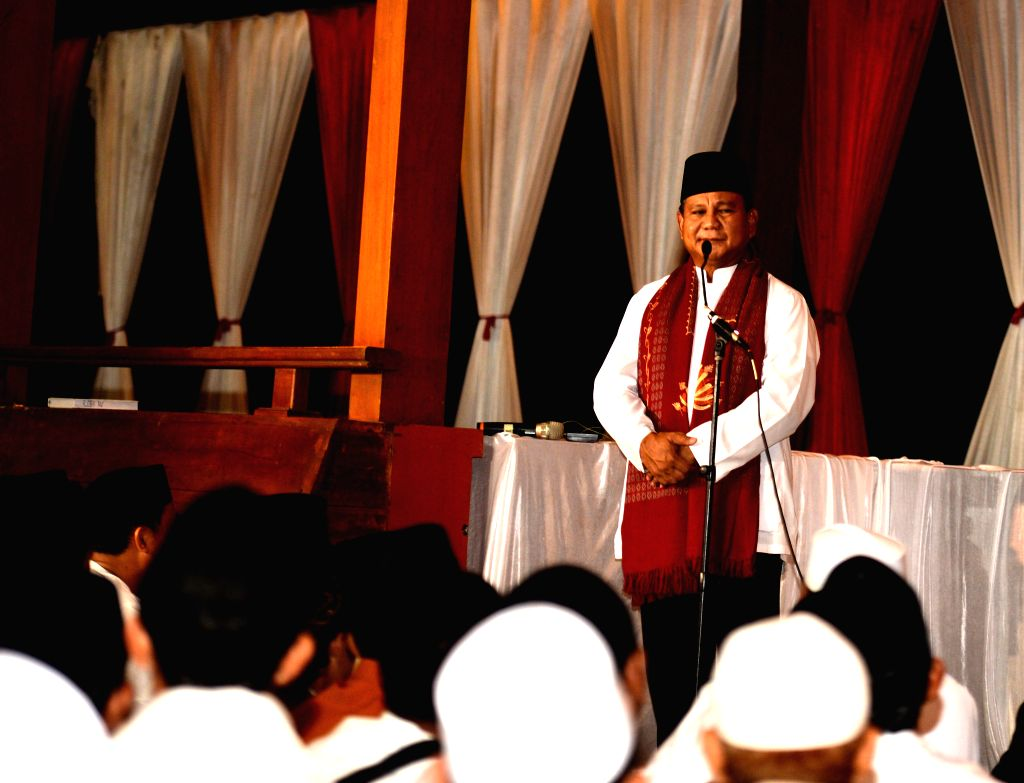 Presidential candidate Prabowo Subiantoin speaks during a religious event in Bogor of West Java Province, Indonesia, July 8, 2014. Indonesians went to polls on July .