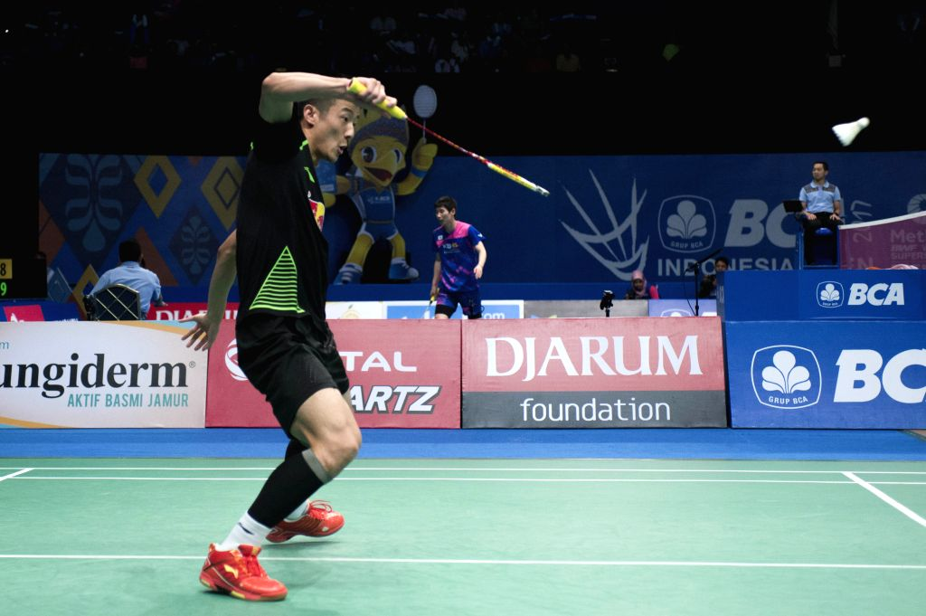 JAKARTA, June 16, 2017 - Chen Long of China competes during the men's singles quarterfinal match against Prannoy H.S. of India at Indonesia Open 2017 in Jakarta, Indonesia, June 16, 2017. Prannoy ...