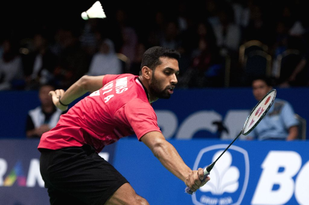 JAKARTA, June 16, 2017 - Prannoy H.S. of India competes during the men's singles quarterfinal match against Chen Long of China at Indonesia Open 2017 in Jakarta, Indonesia, June 16, 2017. Prannoy ...