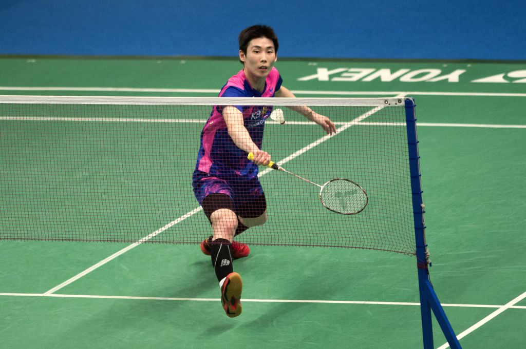 JAKARTA, June 16, 2017 - Son Wan Ho of South Korea competes during the men's singles quarterfinal match against Chou Tien Chen of Chinese Taipei at Indonesia Open 2017 in Jakarta, Indonesia, June 16, ...