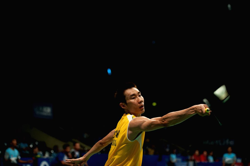 Lee Chong Wei of Malaysia competes against Sony Dwi Kuncoro of Indonesia during round one of BCA Indonesia Open 2014 at Istora Senayan Jakarta, Indonesia, June 18, .