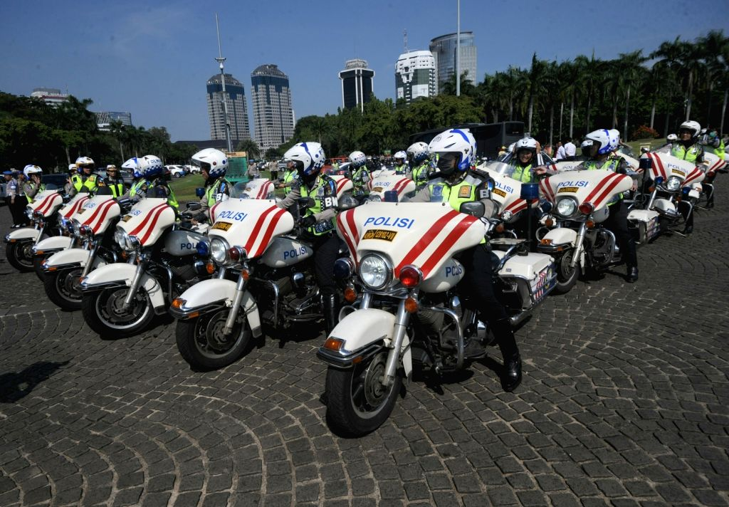 "JAKARTA, June 19, 2017 - Police officers participate in the ""Ramadniya 2017"" security operation in Jakarta, Indonesia, June 19, 2017."