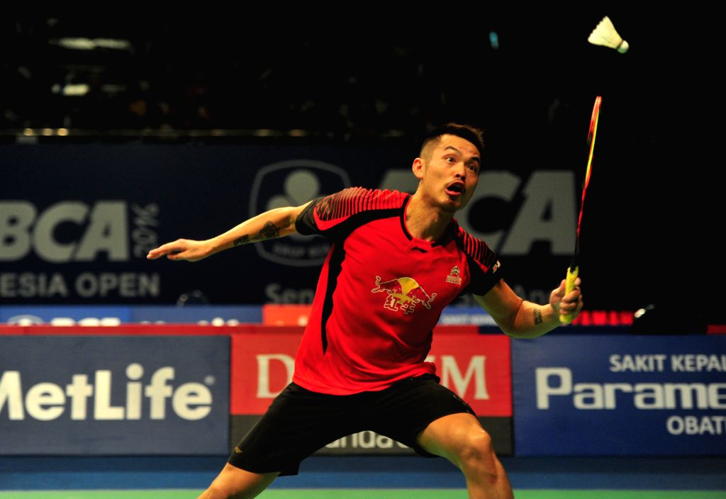 JAKARTA, June 2, 2016 - Lin Dan of China competes against Jonatan Christie of Indonesia during the men's singles match at the BCA Indonesia Open badminton tournament in Jakarta, Indonesia, June 2, ...
