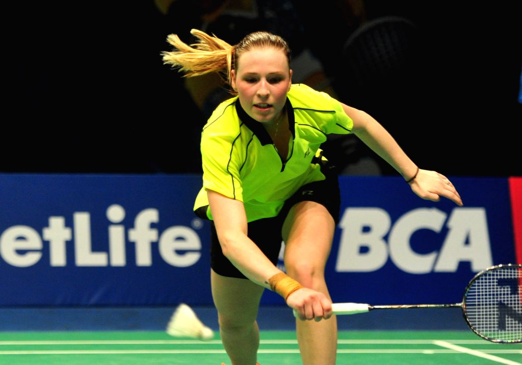 JAKARTA, June 2, 2016 - Line Kjaersfeldt of Denmark competes against Wang Yihan of China during the women's singles match at the BCA Indonesia Open badminton tournament in Jakarta, Indonesia, June 2, ...