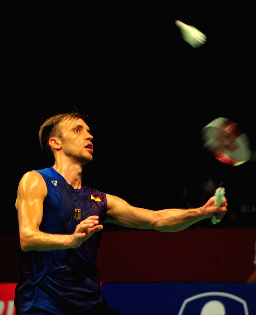 JAKARTA, June 2, 2016 - Marc Zwiebler of Germany competes against Tian Houwei of China during the men's singles match at the BCA Indonesia Open badminton tournament in Jakarta, Indonesia, June 2, ...