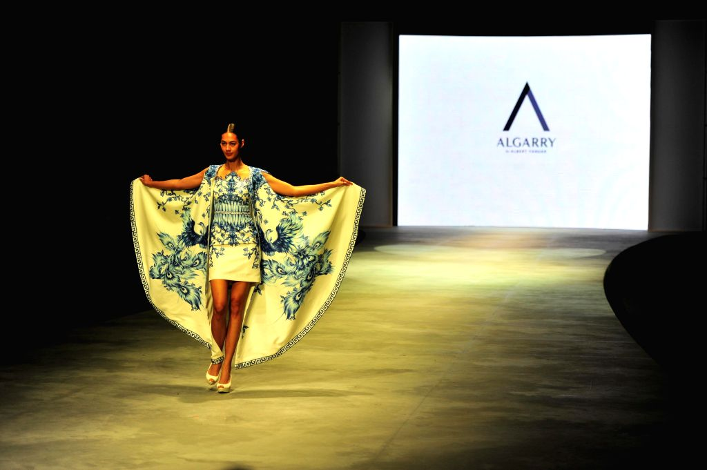 A model presents a creation by Indonesian designer Albert Yanuar during the Indonesian Fashion Week 2015 in Jakarta, Indonesia, Feb. 28, 2015. Indonesian Fashion ...
