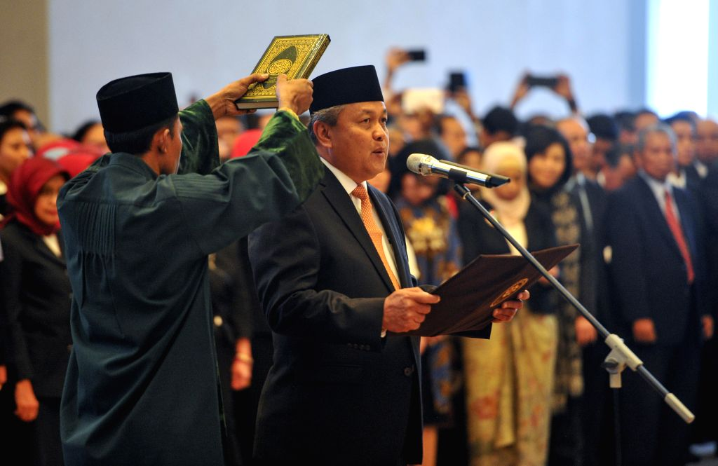 JAKARTA, May 24, 2018 - Perry Warjiyo is sworn in as the governor of Bank Indonesia, the country's central bank, in Jakarta May 24, 2018.
