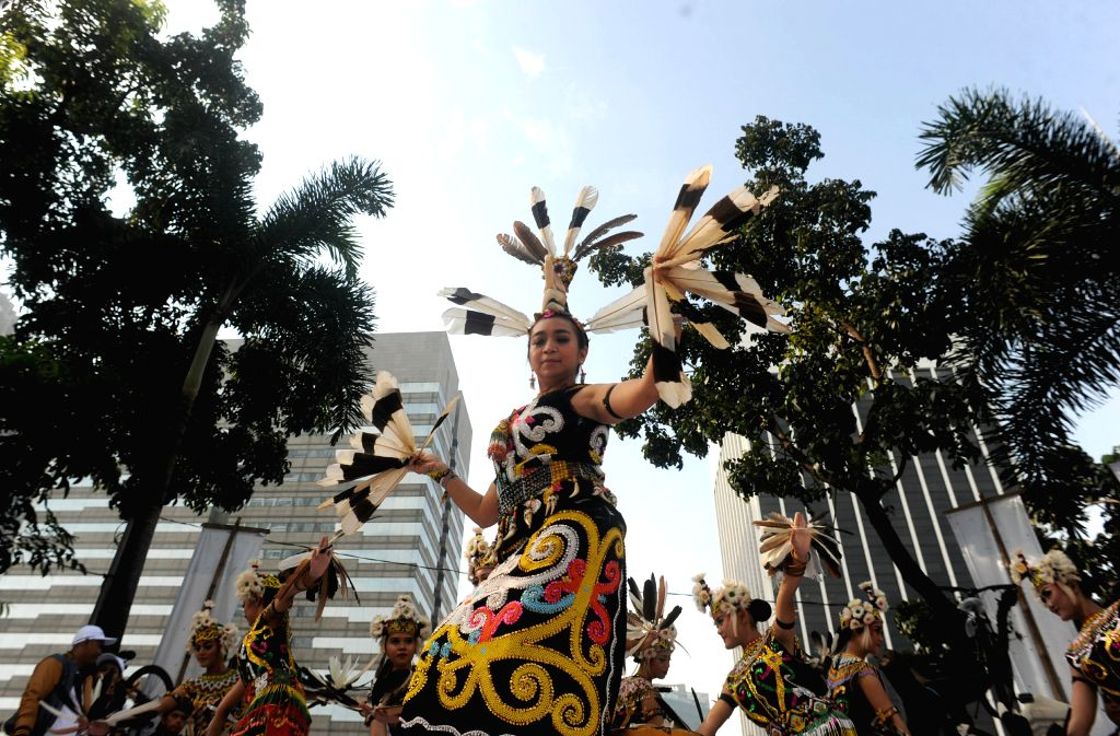 JAKARTA, May 7, 2017 - Dancers perform Burung Enggang dance from East Kalimantan during the traditional dance parade as a part of the National Day of Education Fair in Jakarta, Indonesia, on May 7, ...