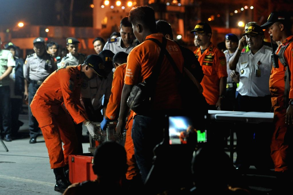 JAKARTA, Nov. 1, 2018 - Officers move the Flight Data Record (FDR) of the crashed Lion Air JT 610 to the safety box after the press conference at the Tanjung Priok port, Jakarta, Indonesia, Nov. 1, ...