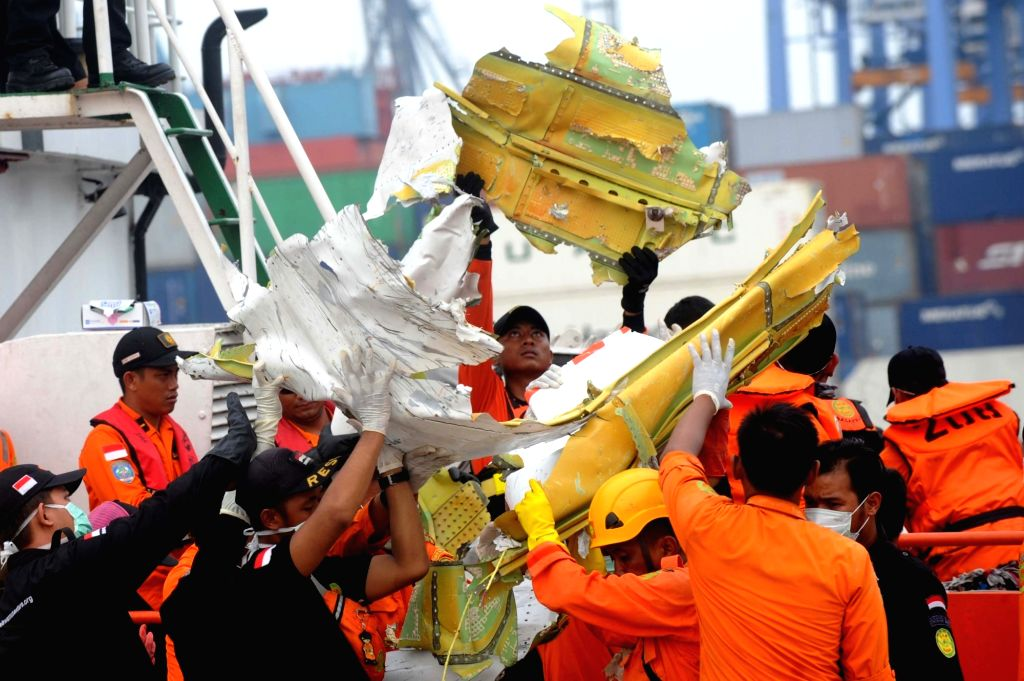 JAKARTA, Nov. 3, 2018 - Members of the Indonesian Search and Rescue (SAR) team carry debris of Lion Air JT 610 at Tanjung Priok Port, Jakarta, Indonesia, Nov. 3, 2018.