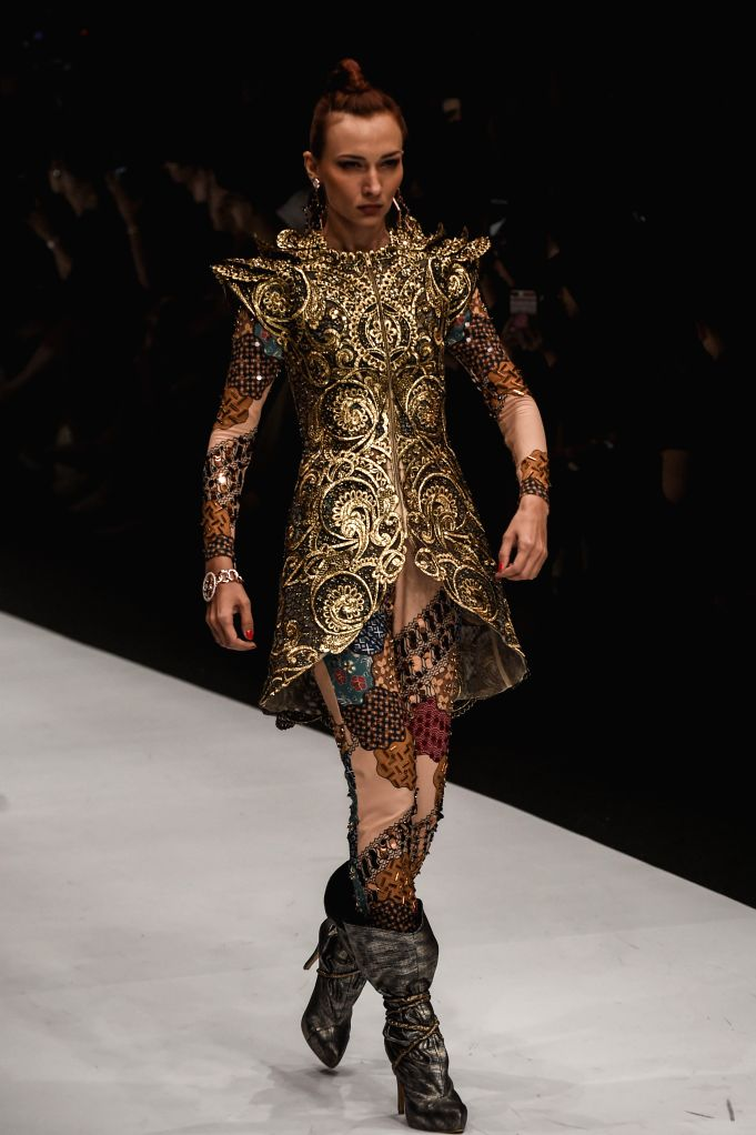 JAKARTA, Oct. 25, 2019 - A model presents a creation of Maya Ratih during Jakarta Fashion Week 2020 in Jakarta, Indonesia, Oct. 25, 2019.