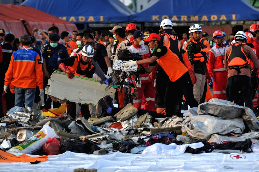 JAKARTA, Oct. 29, 2018 - Search and Rescue officers move debris of the Lion Air JT610 that crashed into the sea off Karawang of West Java province at the joint base of Search and Rescue at the ...