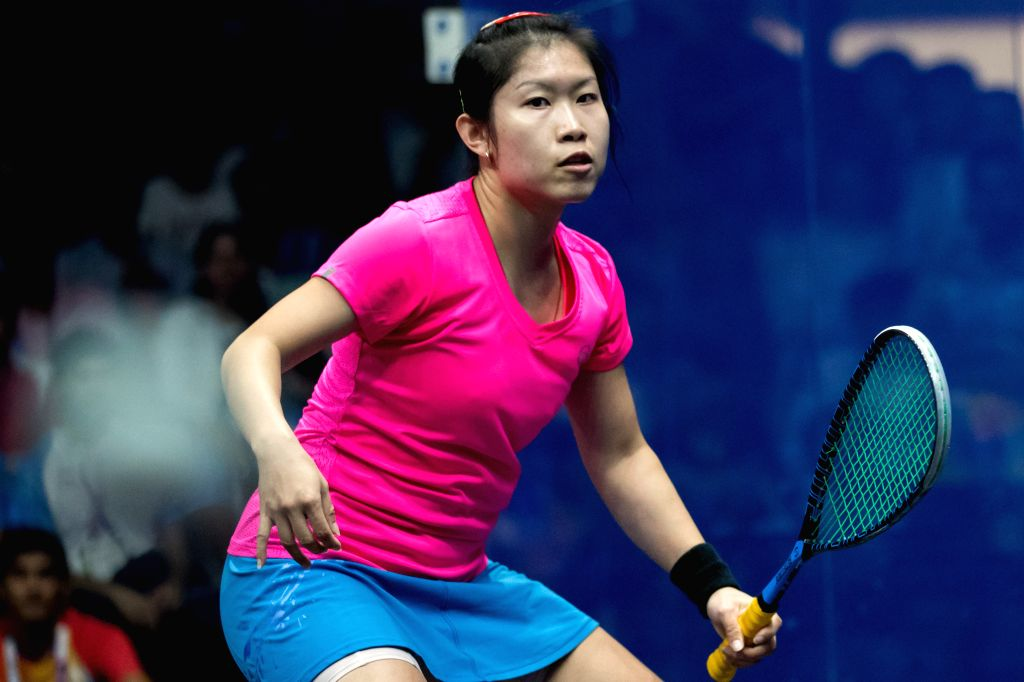 JAKARTA, Sept. 1, 2018 - Au Wing Chi Annie of China's Hong Kong competes against Chinappa Joshana of India during the Squash Women's Team Gold Medal Match at the 18th Asian Games in Jakarta, ...