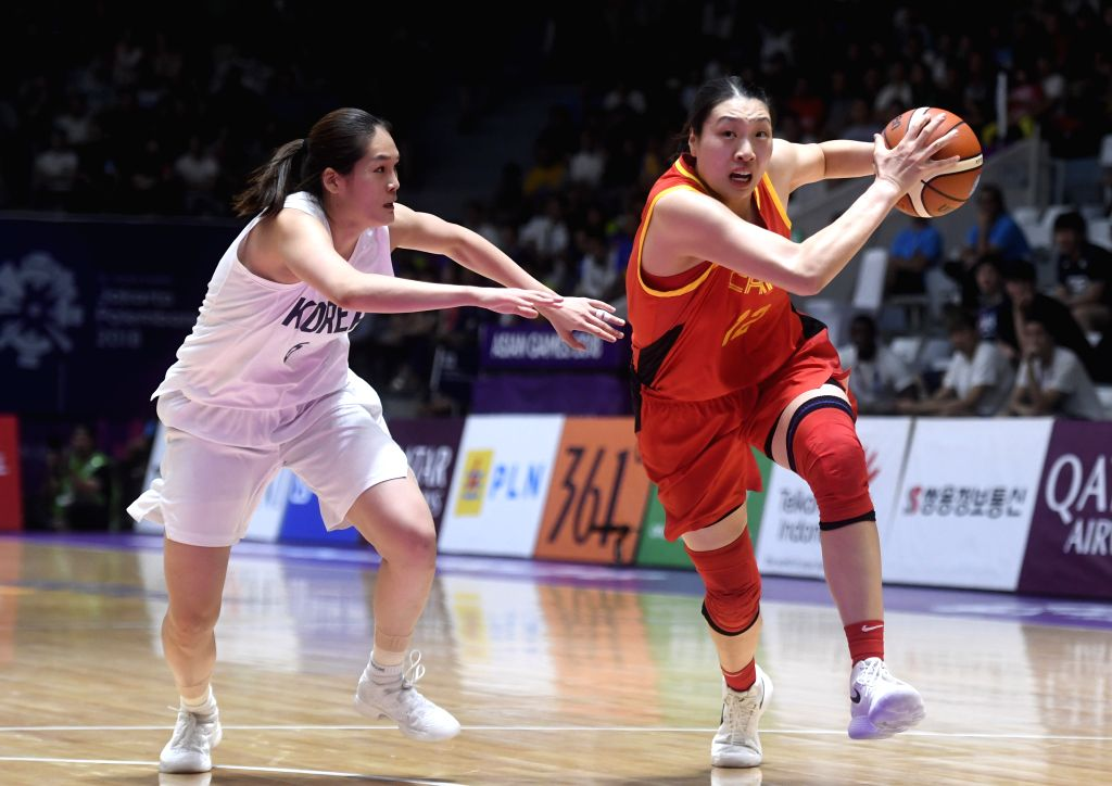 JAKARTA, Sept. 1, 2018 - Chinese player Liu Jiacen (R) competes during women's basketball final between China and the unified team of the Democratic People's Republic of Korea (DPRK) and South Korea ...