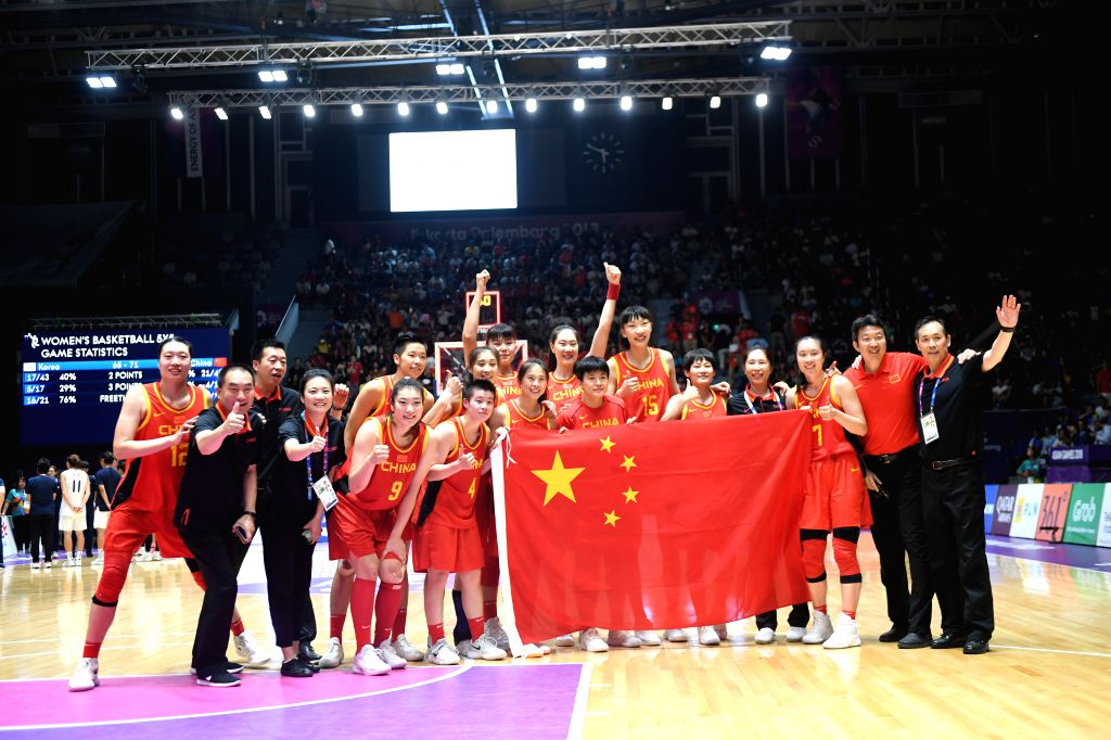 JAKARTA, Sept. 1, 2018 - Chinese players celebrate after winning women's basketball final between China and the unified team of the Democratic People's Republic of Korea (DPRK) and South Korea at the ...