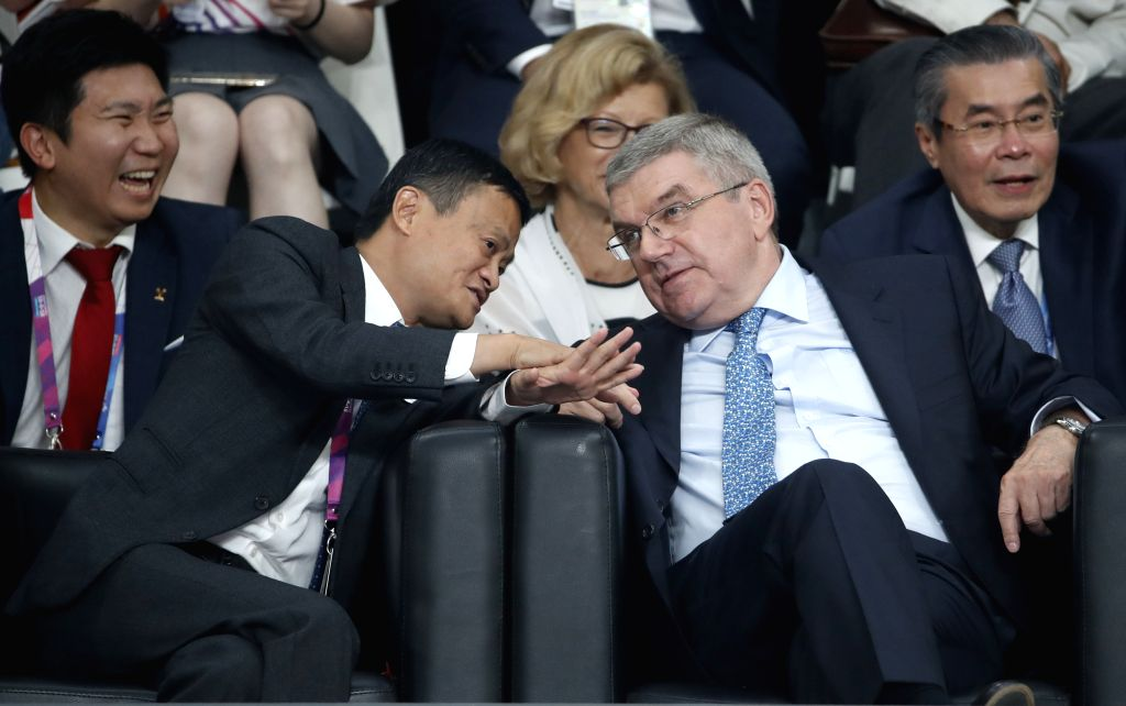 JAKARTA, Sept. 1, 2018 - International Olympic Committee President Thomas Bach (R Front) and Jack Ma (L Front), founder and chairman of Chinese e-commerce giant Alibaba Group, watch women's ...