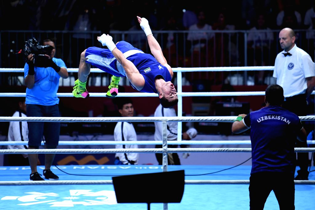 JAKARTA, Sept. 1,2018 - Israil Madrimov of Uzbekistan reacts after winning Men's Middle 75kg Boxing Final match at the 18th Asian Games in Jakarta, Indonesia, Sept. 1, 2018.