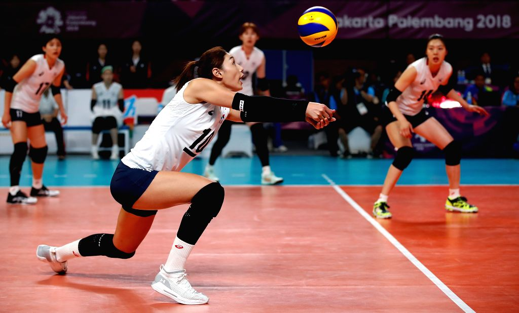JAKARTA, Sept. 1, 2018 - Kim Yeonkoung of South Korea competes during the women's volleyball bronze medal match between South Korea and Japan at the 18th Asian Games in Jakarta, Indonesia on Sept. 1, ...