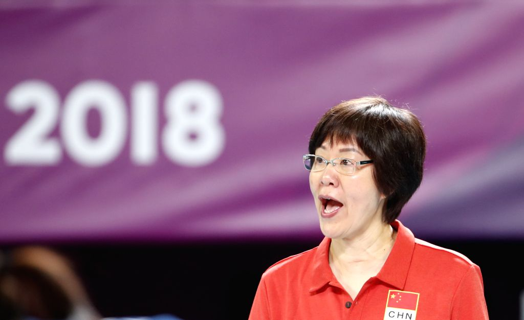 JAKARTA, Sept. 1, 2018 - Lang Ping, head coach of China, is seen during women's volleyball final between China and Thailand at the 18th Asian Games 2018 in Jakarta, Indonesia, Sept. 1, 2018.