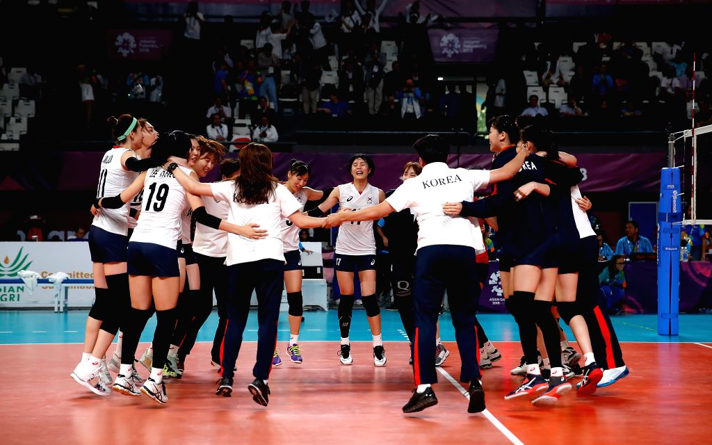 JAKARTA, Sept. 1, 2018 - Players of South Korea celebrate after the women's volleyball bronze medal match between South Korea and Japan at the 18th Asian Games in Jakarta, Indonesia on Sept. 1, 2018.