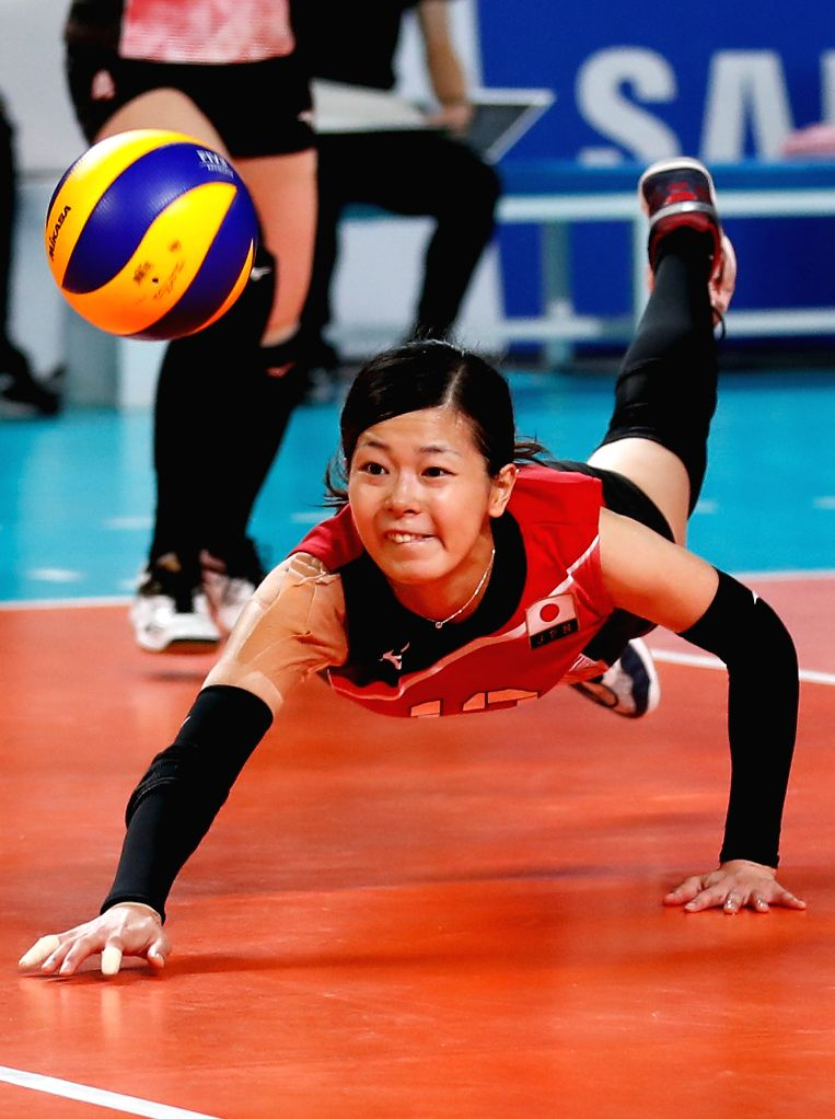 JAKARTA, Sept. 1, 2018 - Sato Miya of Japan competes during the women's volleyball bronze medal match between South Korea and Japan at the 18th Asian Games in Jakarta, Indonesia on Sept. 1, 2018.
