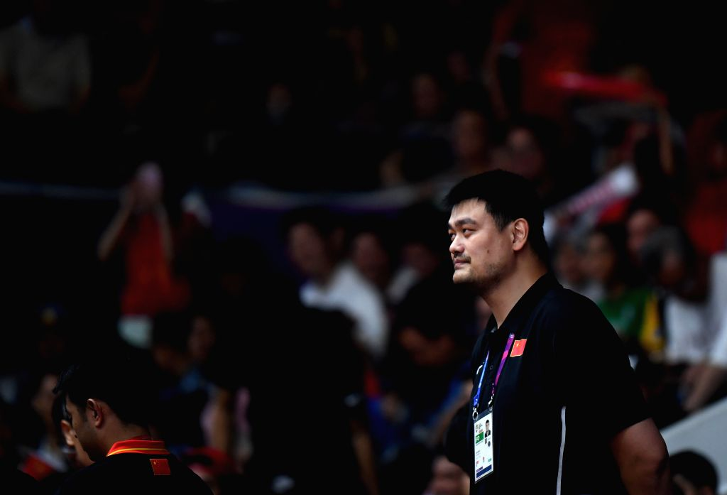 JAKARTA, Sept. 1, 2018 - Yao Ming watches men's basketball final between China and Iran at the 18th Asian Games 2018 in Jakarta, Indonesia, Sept. 1, 2018.
